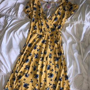 Yellow and blue flower tie dress